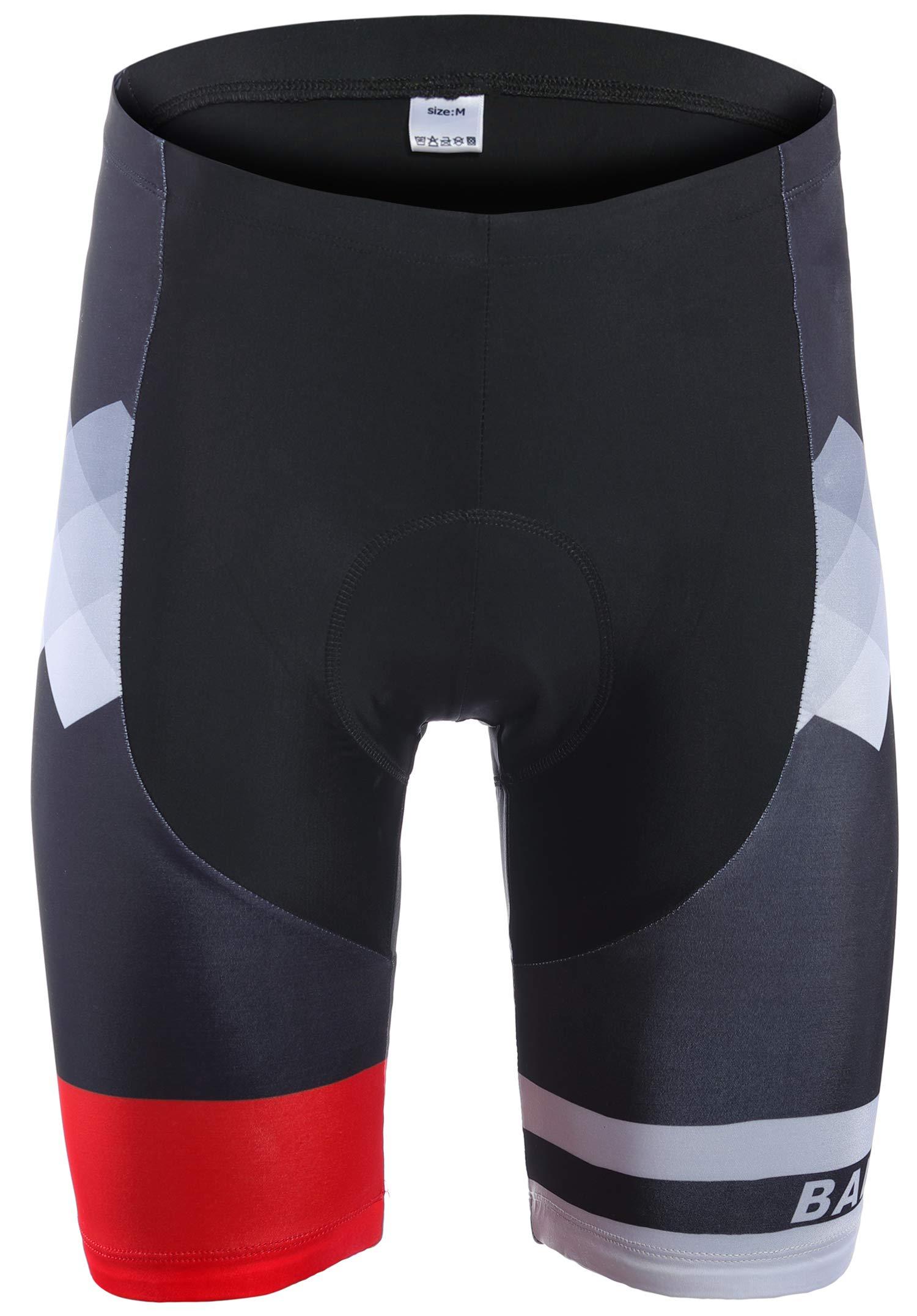 Balnna Padded Cycling Shorts Bicycle Bike Pants Half Pants 4D Coolmax-Red-XL by Balnna