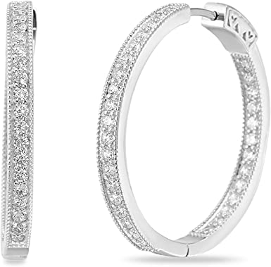 925 Sterling Silver Rhodium-plated Polished Oval Hoop Earrings 2mm x 40mm