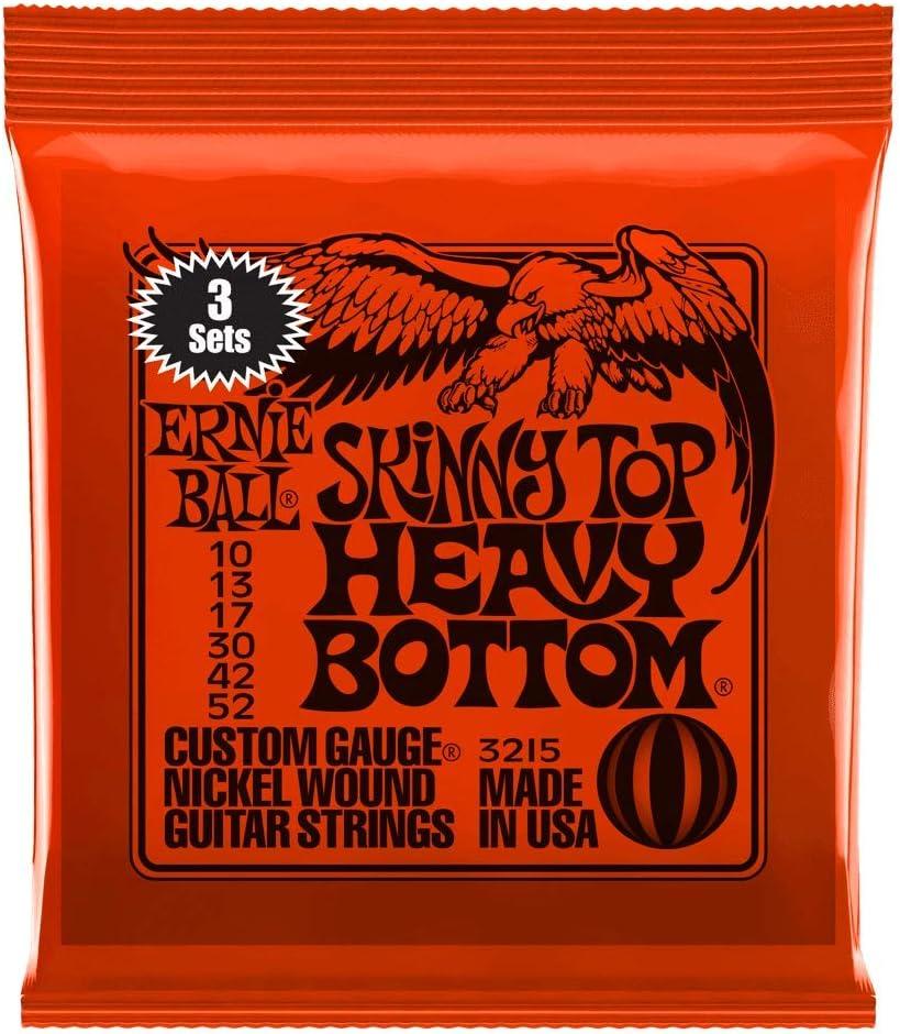 Ernie Ball Skinny Top Heavy Bottom Slinky Nickel Wound Cuerdas para guitarra eléctrica 3 Pack - 10-52 Gauge