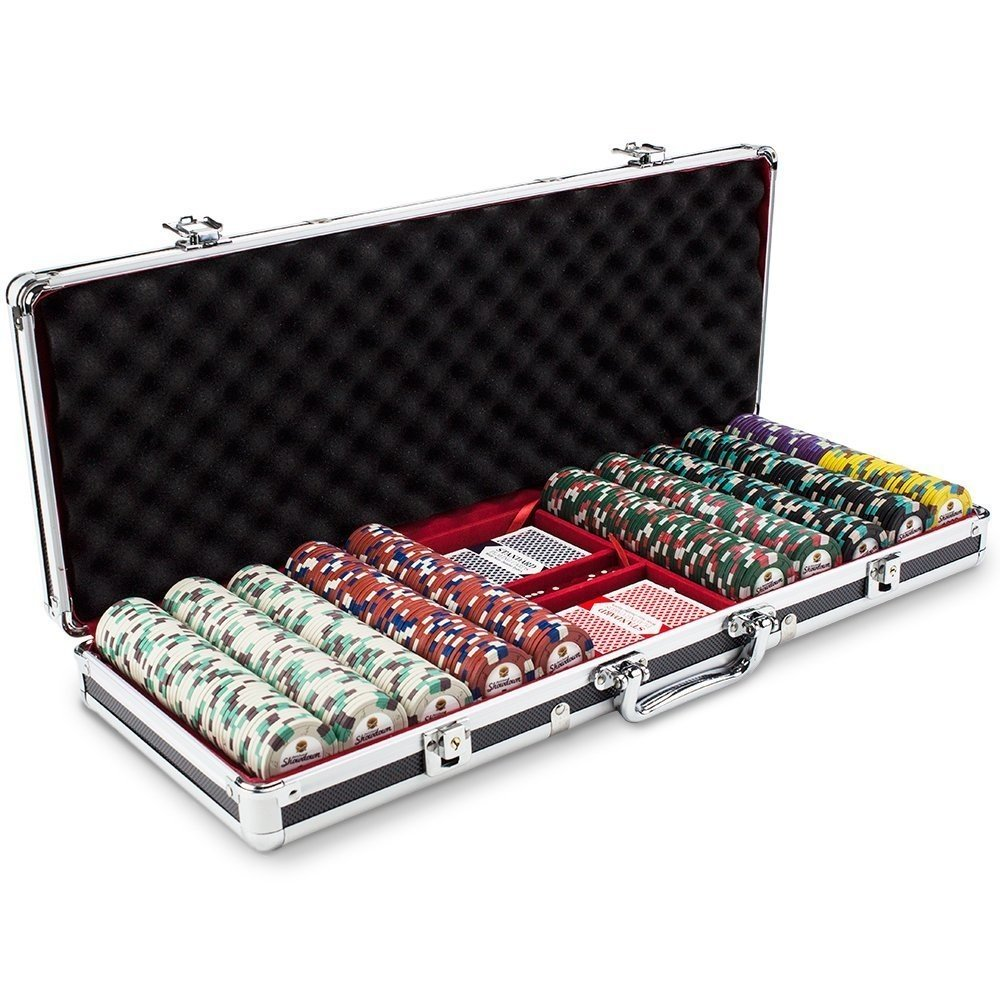 By-Claysmith Gaming Poker Chips, Claysmith 500ct Texas Holdem Travel Poker Chip Set Case, Black