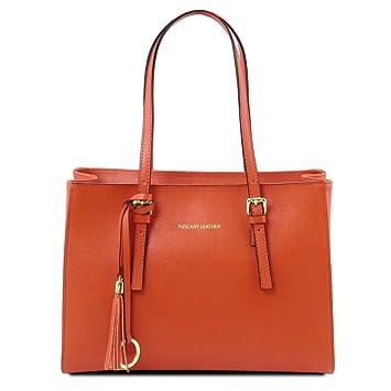 d7964bbcfaecd Tuscany Leather TL Bag - Henkeltasche aus Saffiano Leder - TL141518 (Brandy)