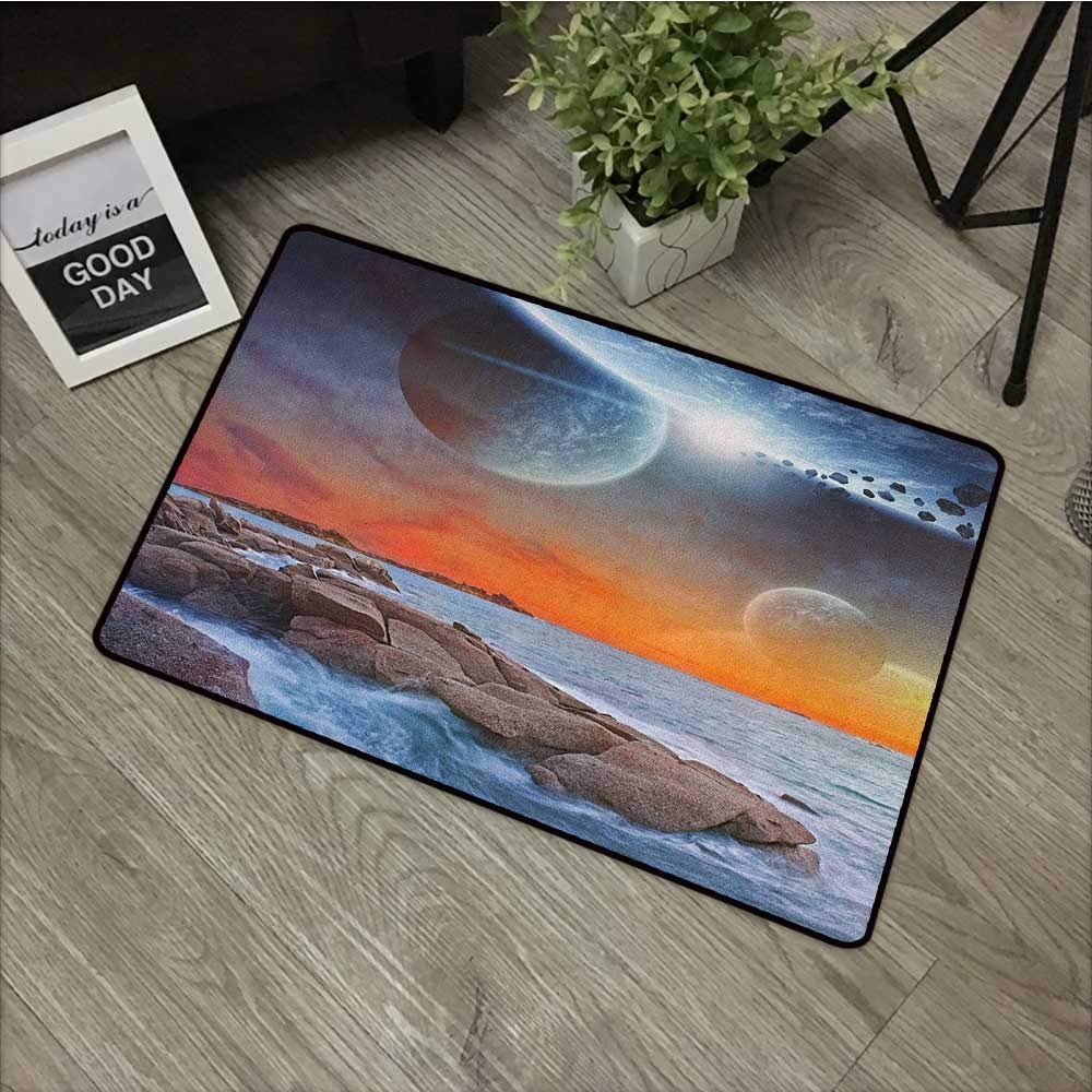 Buck Haggai Printing Door Mat Galaxy,Planet Landscape View from A Beautiful Rocky Beach Ocean Science Room Theme, Blue Orange Umber,XL Jumbo, No Phthalate, Water Resistant, 35''x47'' by Buck Haggai