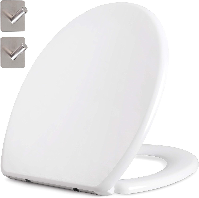 GRATIS: 2x Klebehaken aus Edelstahl Duroplast WC-Sitz//-Deckel mit Absenkautomatik ovale Form Toilettendeckel