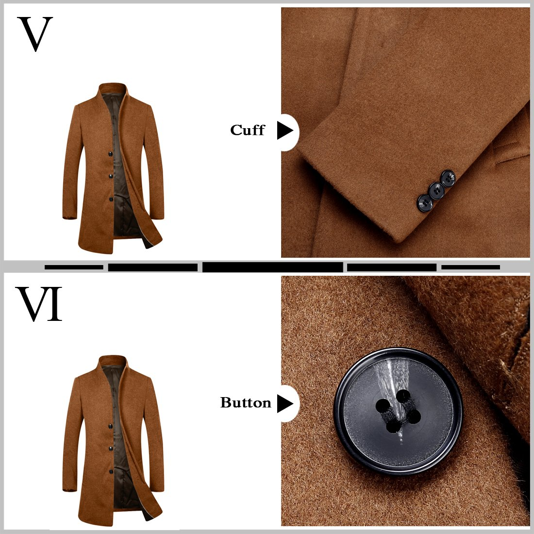APTRO Men's Wool French Front Slim Fit Long Business Coat 1681 DZDY Camel S by APTRO (Image #4)
