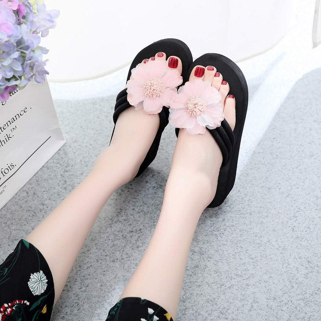 Subfamily Pantoufles d'été Pantoufles épais Tongs Sandales à Bout Ouvert Peep-Toe Thick Casual Sandals Tongs Chaussures Chaussures de Plage Chaussures de Maison Rose