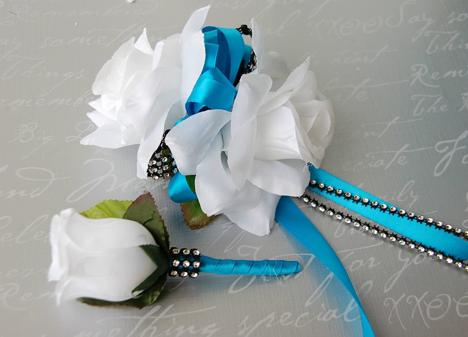 Amazon.com: 2pc Set: White Rose and Turquoise Wrist Corsage ...