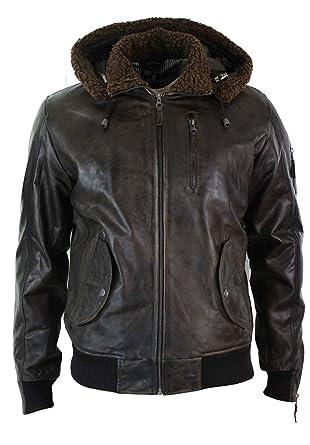 f7fe45a1adf Mens Real Leather Hood Fur Jacket Bomber Aviator Vintage Brown Retro ...