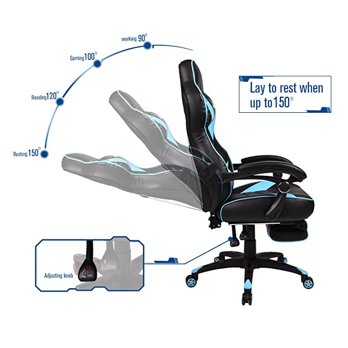 Astonishing Gaming Chair For Adults With Footrest High Back Swivel Computer Office Chair With Pillows And Lumber Support Black Light Blue Machost Co Dining Chair Design Ideas Machostcouk