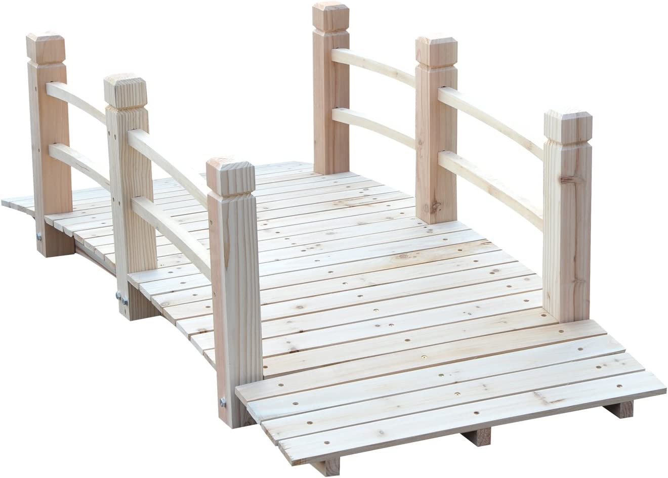 Outsunny 5' Wooden Rustic Decorative Garden Bridge with Railings - Natural Wood