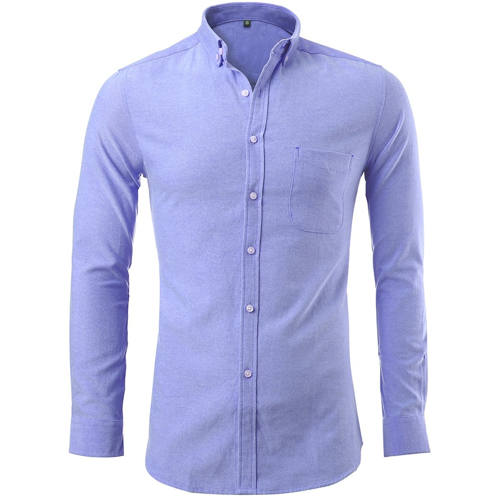 97c228d9e69 FLY HAWK Mens Oxford Dress Shirts Casual Slim Fit Button Down Long Sleeve  Shirts Blue at Amazon Men s Clothing store