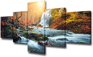 """TUMOVO Canvas Wall Art Prints Landscape Waterfall Nature Scenery Painting Modern Artwork 5 Panels Mountain Picture Framed Ready to Hang for Living Room Bedroom Home Office Decor - 50"""" W x 24"""" H"""