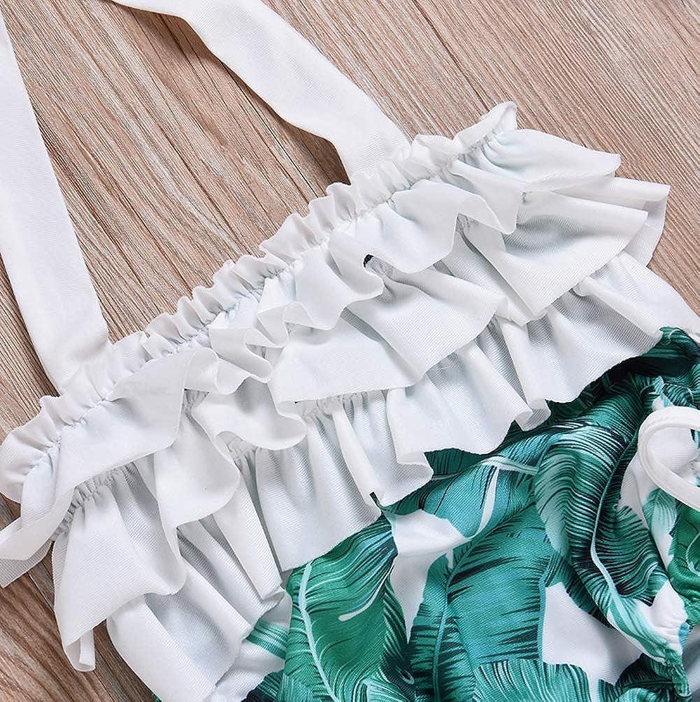 Baby Girls One-Piece Ruffles Backless Swimsuit Leaf Print Halter Bikini Swimwear Set with Sun Hat