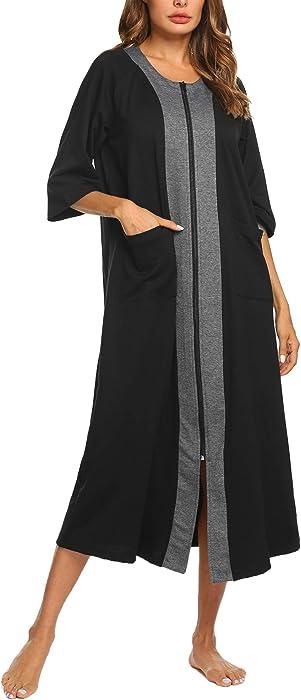 eb462ba6759 Ekouaer Women s Sleepwear Robe with Pockets Plus Size Maxi Lounger Zipper  Short Sleeve Bathrobe Housecoat (
