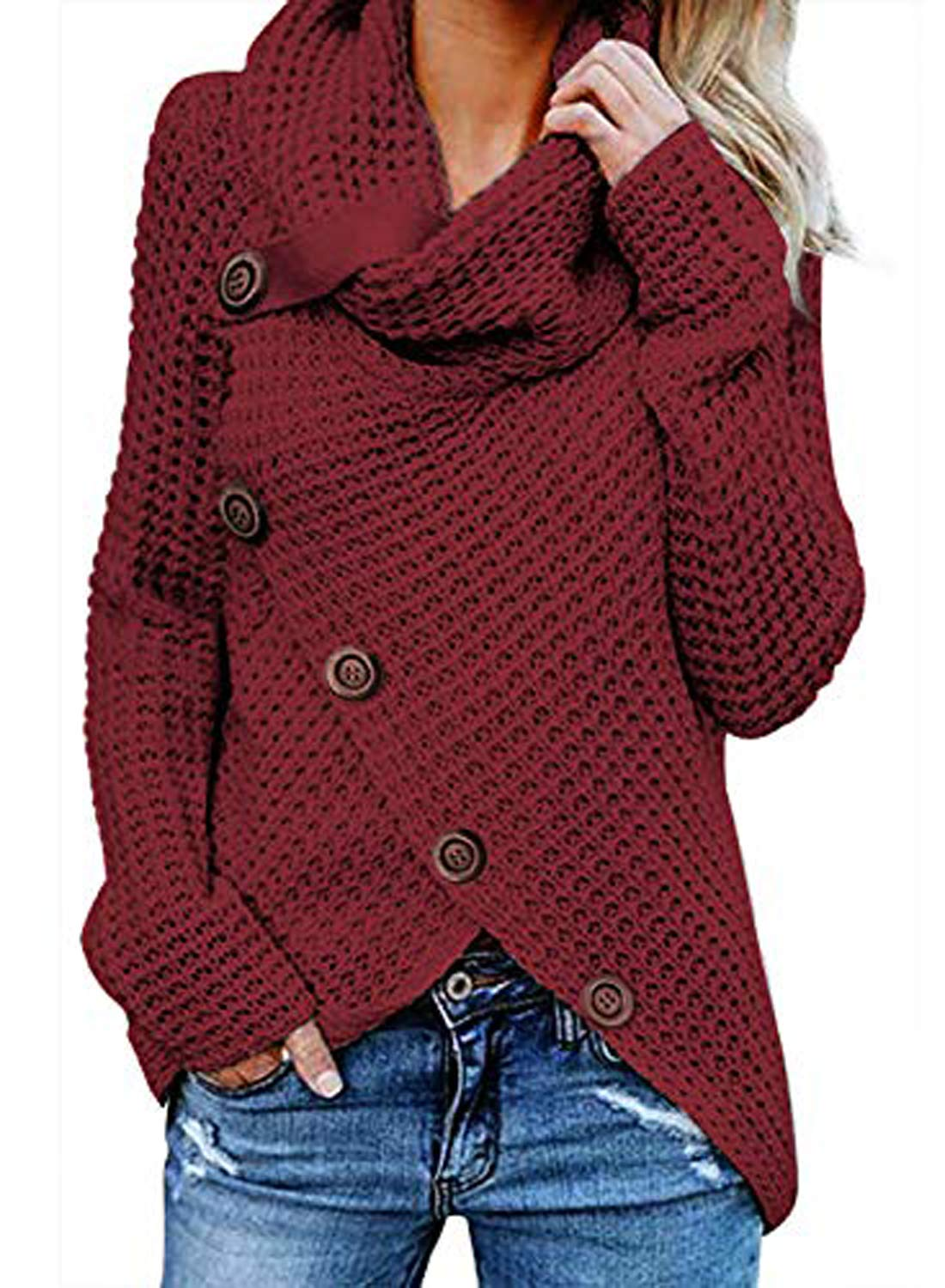 Itsmode Womens Casual Chunky Turtle Cowl Neck Long Sleeve Knit Wrap Asymmetric Hem Button Comfy Cardigans Sweater Coat Tops Red Small by Itsmode