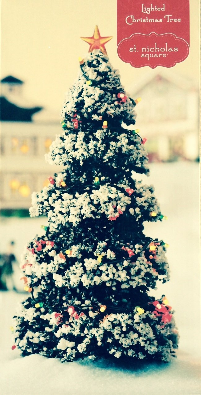 Amazon.com: St. Nicholas Square Lighted Christmas Tree Illuminated Christmas  Village Accessory: Home & Kitchen