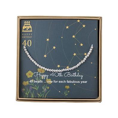Armband Zum 40 Geburtstag Für Frauen Sterling Silber Perlenarmband Geschenk Zum 40 Geburtstag Verstellbarer Schmuck 178 229 Cm Kordel
