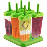 Popsicle Ice Mold Maker Set - 6 Pack BPA Free Reusable Ice Cream DIY Pop Molds Holders With Tray & Sticks Popsicles Maker Fun for Kids and Adults Great Gift for Party Indoor & Outdoor Green