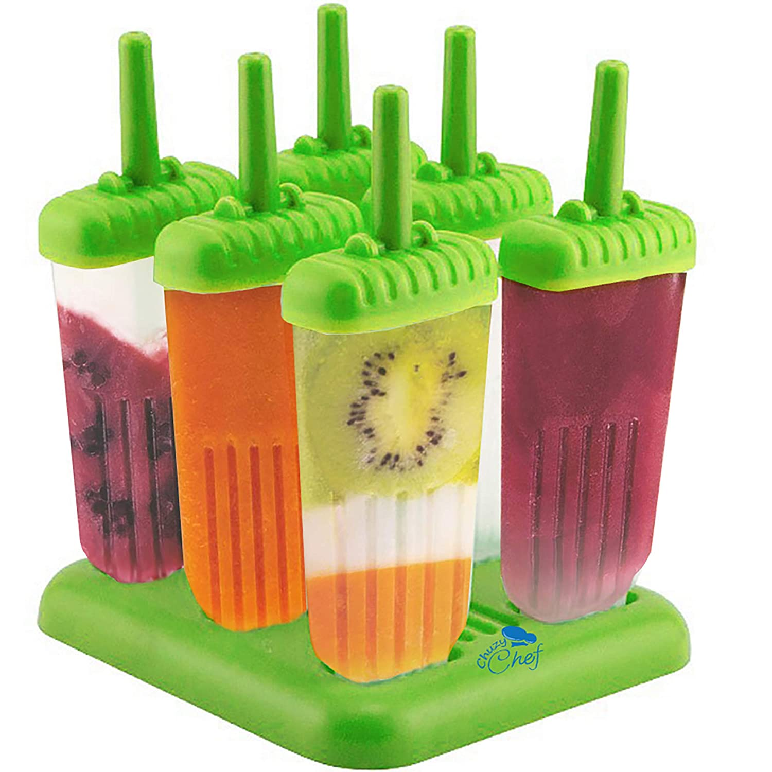 Popsicle Ice Mold Maker Set - 6 Pack BPA Free Reusable Ice Cream DIY Pop Molds Holders With Tray & Sticks Popsicles Maker Fun for Kids and Adults Great Gift for Party Indoor & Outdoor Green Chuzy Chef