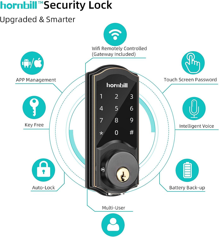 Smart Lock hornbill Keyless Entry Door Lock Smart Deadbolt Locks with Keypads Connect Wi-Fi Bridge Digital Door Lock Work with Alexa /& APP Auto Lock Remote Unlock Secure Code Entry 2021 New