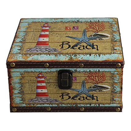 BQLZR - Caja de madera estilo europeo con cierre para manualidades, joyería, organizador de