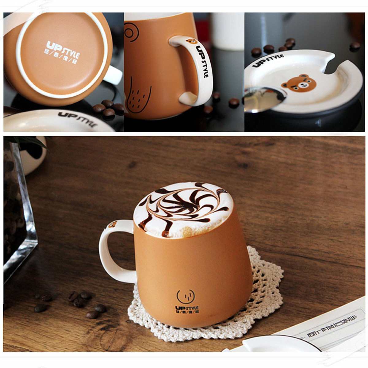 UPSTYLE Cute Animal Penguin Tea Mug Funny Lovely Tea and Coffee Mug Morning Coffee Milk Ceramic Water Cup with Lid and Handle for Office home - Best Gift for friends and family,10.8OZ(320ml)(Bear) by UPSTYLE (Image #3)
