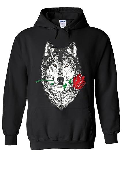 4d095f68d10 Amazon.com  Red Rose Wolf Draw Retro Funny Cool Novelty Black Men Women  Unisex Hooded Sweatshirt Hoodie  Clothing