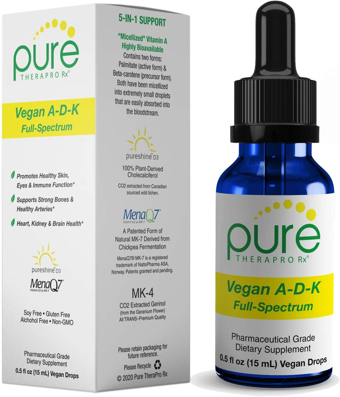 "Vegan A-D-K ""Full Spectrum"" Drops for Best Absorption | 5 Drops Contain: 1,507 mcg Micellized A; 5,000 iu D3 ""pureshine""; 500mcg VIT K2 (MK4) & 180mcg VIT K2 (MK7) ""MenaQ7"" | Tasteless & Odorless"