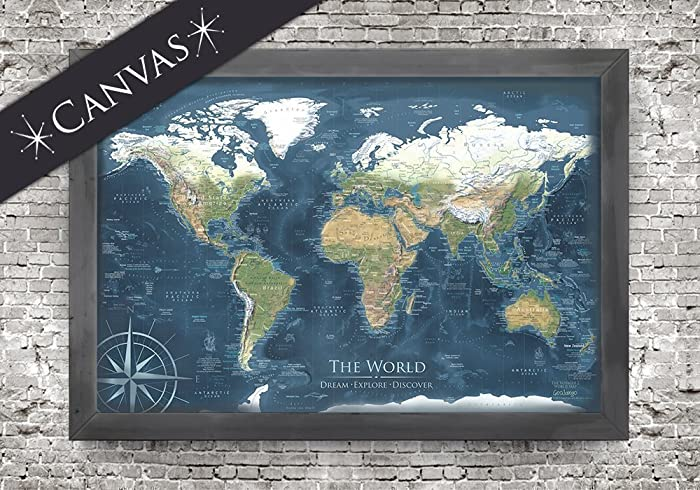 Amazon canvas world map with exterior frame voyager 2 world canvas world map with exterior frame voyager 2 world map framed push pin map gumiabroncs Gallery