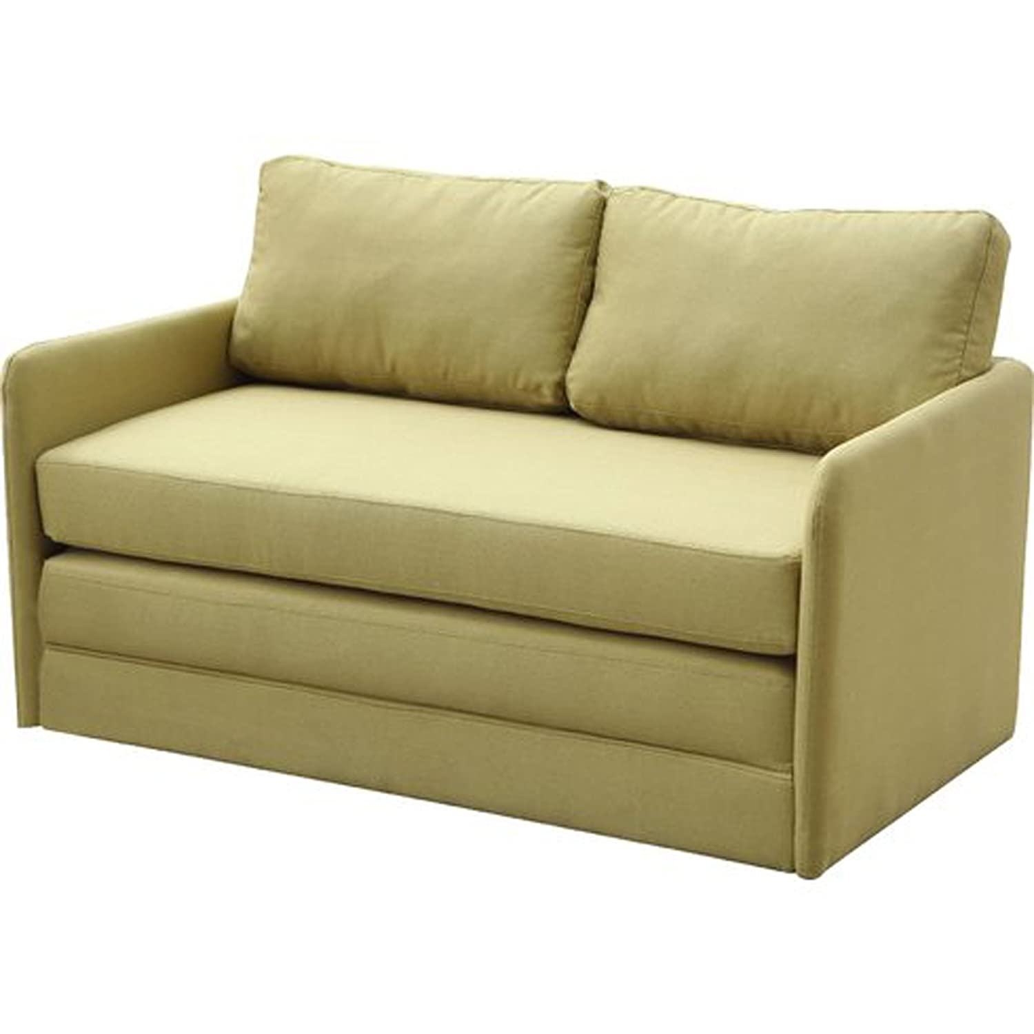 Amazon com sleeper loveseat convertible to full size small sofa bed contemporary upholstered two seat furniture yellow green kitchen dining