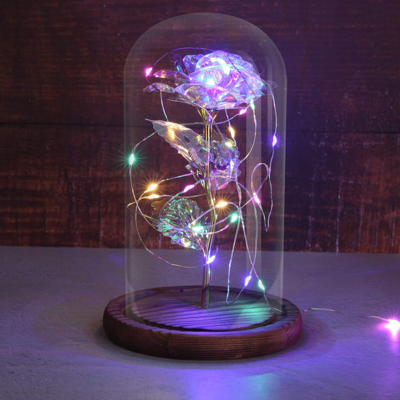 Timker Rosa Bella y Bestia,Flor Bella y Bestia,Elegante C/úpula de Cristal con Base Pino Luces LED para D/ía de San Valent/ín Aniversario Bodas P/étalos de color degradado
