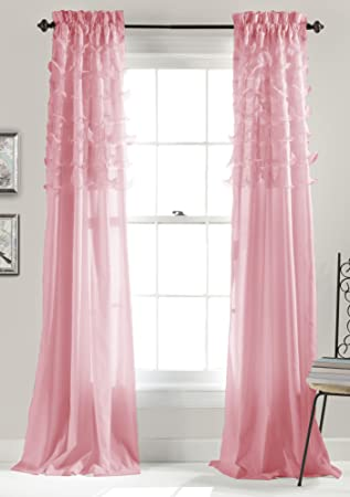 Lush Decor Avery Window Curtains, 84 By 54 Inch, Pink, Set Of
