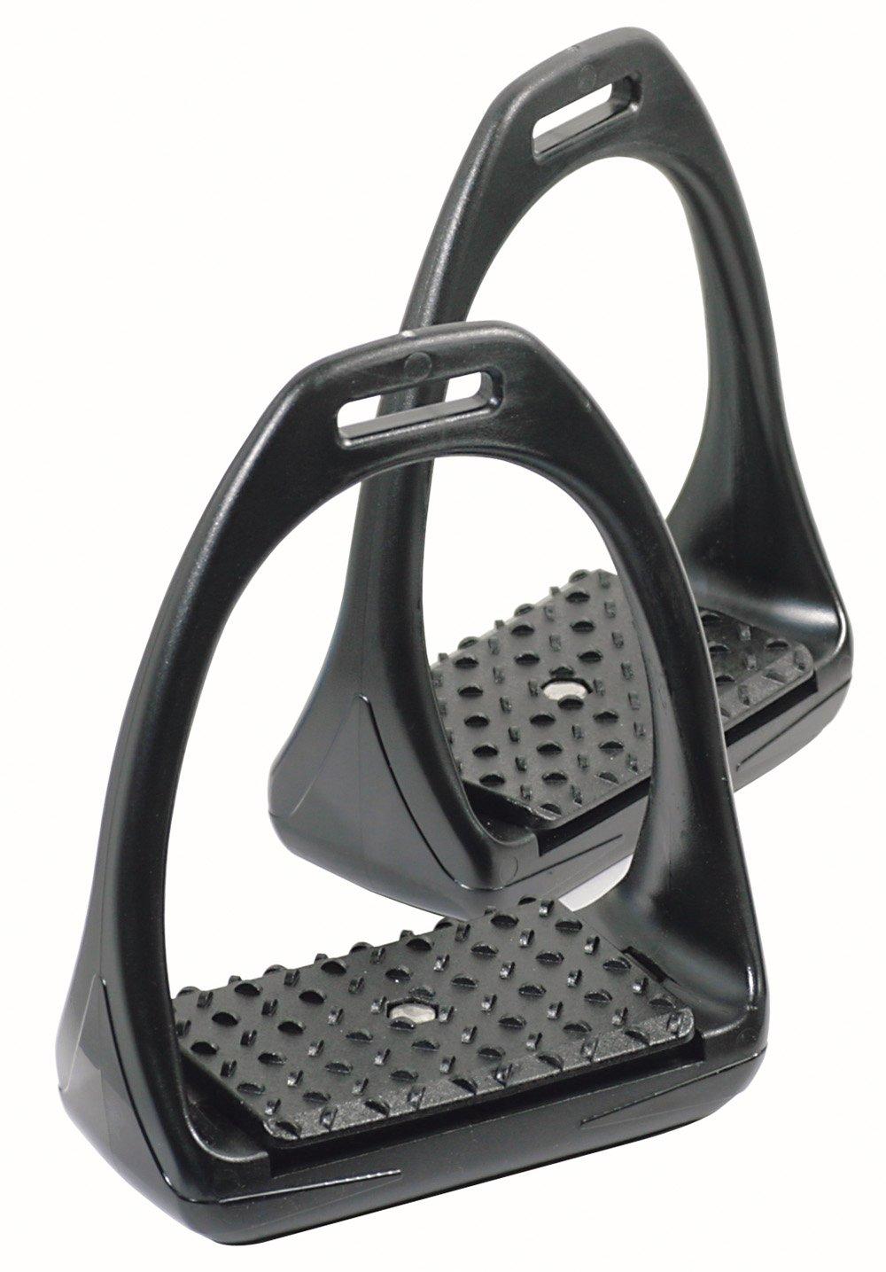 PFIFF Flexi Stirrup Irons With Flex. Tread Black Full