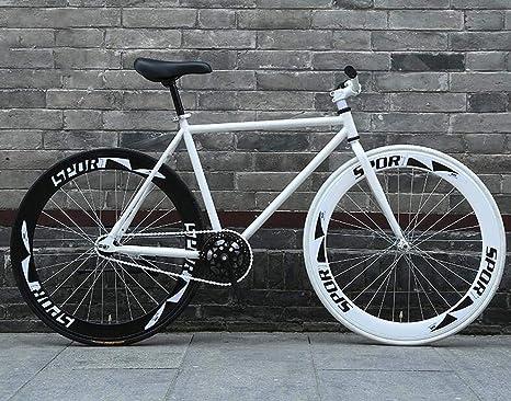 ZTYD Camino de la Bicicleta, Bicicletas 26 Pulgadas, Stripped Sistema de Frenos Fixie Volver, Marco de Acero de Alto Carbono, Camino de la Bicicleta de Carreras, Hombres y Mujeres Adultos de,D: Amazon.es: