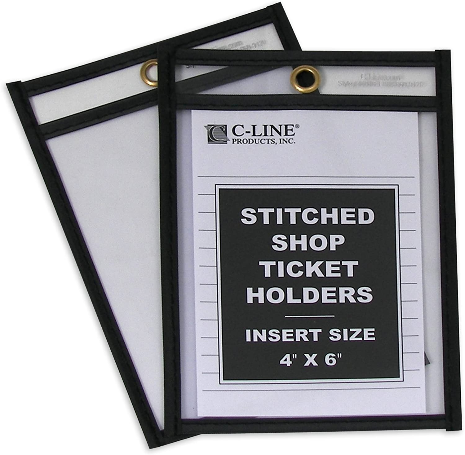 C-Line Stitched Shop Ticket Holders, Both Sides Clear, 4 x 6 Inches, 25 per Box (46046)