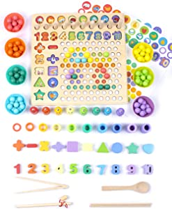 UNIH Wooden Number Shape Puzzle Montessori Toys Fishing Game Shape, Bead Sorting Counting Stacking Math Stacking Block Game, Preschool Educational Learning Toys for Kids Toddlers