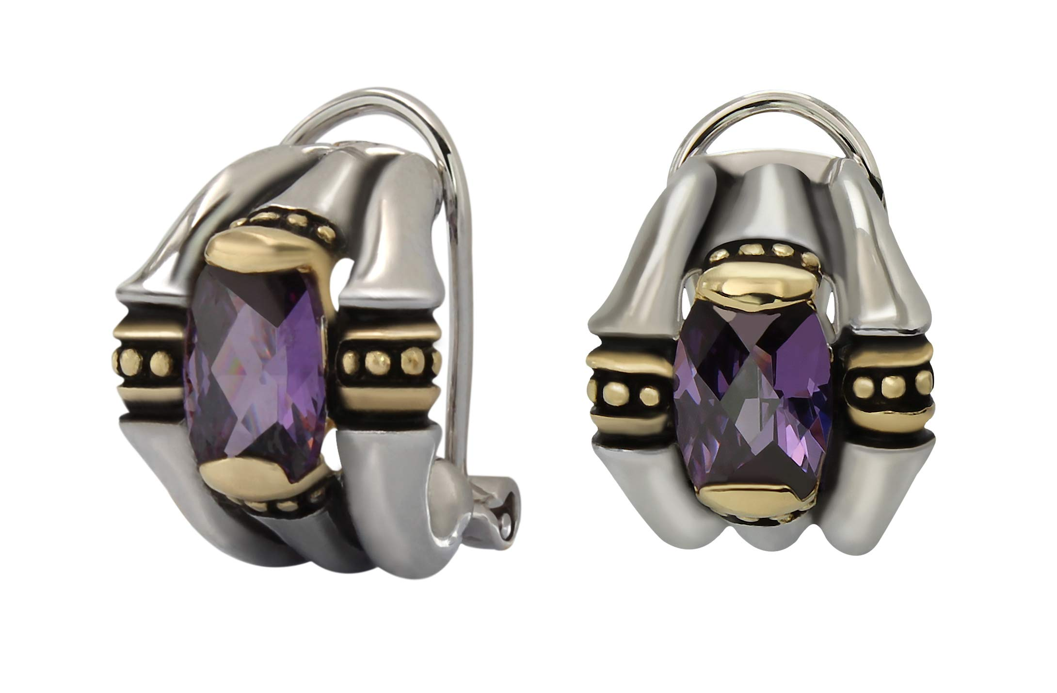 John Medeiros Two-Tone Omega Clip Post Earrings with Purple Cubic Zirconia Made in The USA