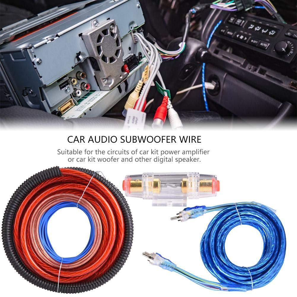 Kit de cableado del subwoofer 1 juego de 4 instalaci/ón de altavoces del altavoz del subwoofer de audio del autom/óvil de Guage 2800W Juego de fusibles del juego de cables.