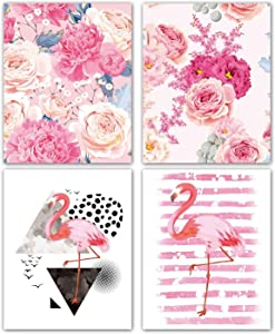 """VOUORON Modern Art Watercolor Pink Striped Flamingo Wall Poster Painting Set of 4 (8""""X10'' Canvas Picture) Woman Queen Princess Girl Bedroom Decor Poster Bathroom Spa Home Decor Unframed"""