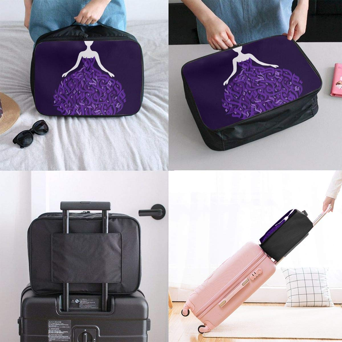 Purple Beauty Arabic Calligraphy Art Customize Casual Portable Travel Bag Suitcase Storage Bag Luggage Packing Tote Bag Trolley Bag