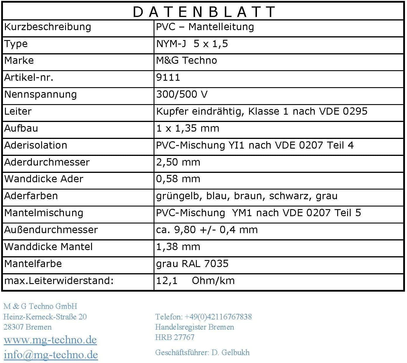M/&G Techno 20m NYM-J 3x1,5 mm/² Mantelleitung Elektro Strom Kabel Kupfer eindr/ähtig Made in Germany