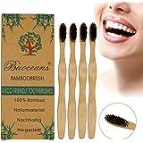 Bambù spazzolino, Biodegradabili Spazzolino, Pacchetto Famiglia (4 pezzi), Ideale per Bambini con manico di bambù naturale & carbone setole senza BPA per di sbiancamento dei denti