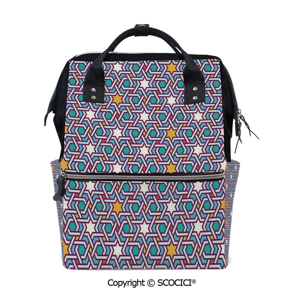 SCOCICI 3D Printed Laptop Daypack,Geometric Lines and Stars Based on Traditional Oriental Eastern Artistic World Decorative,Vivid Custom Graphic Design