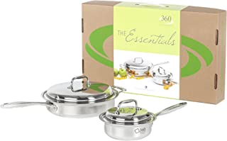 product image for 360 Stainless Steel Cookware Set, Handcrafted in the USA, Induction Cookware, Waterless Cookware, Oven Safe, Surgical Grade Stainless Steel Cookware, Pots and Pans Set (4 Piece Set)
