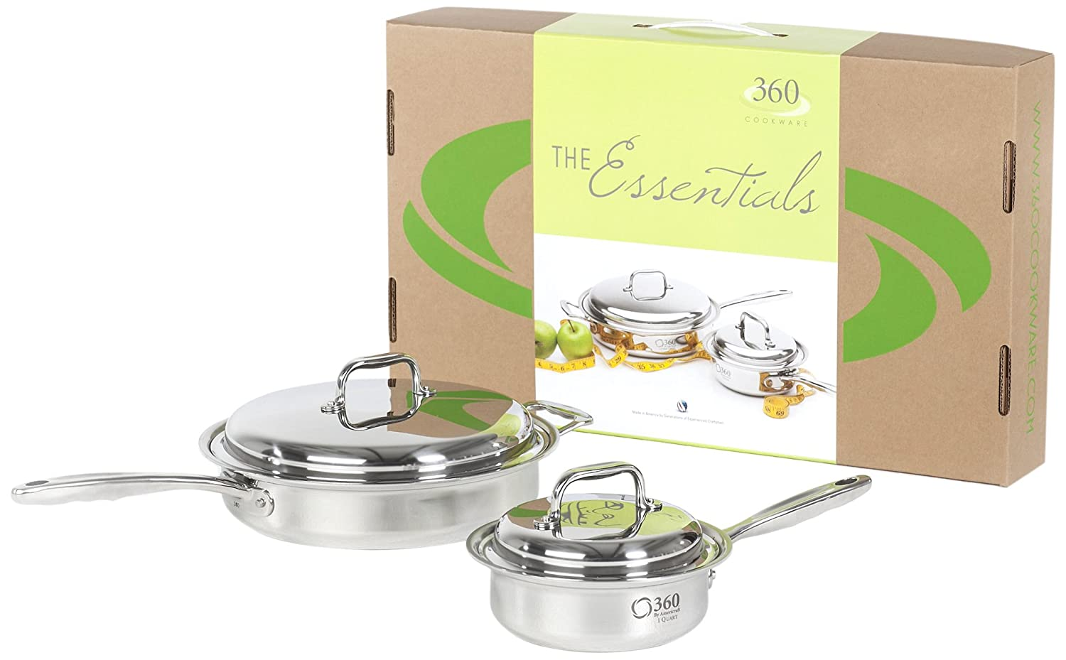 360 Cookware Stainless Steel Cookware Essentials Set. American Made, Cooks on Gas, Electric, Induction Stoves. Professional Grade, Lasts a Lifetime, Waterless Cookware Capable, 4 Piece Box Set