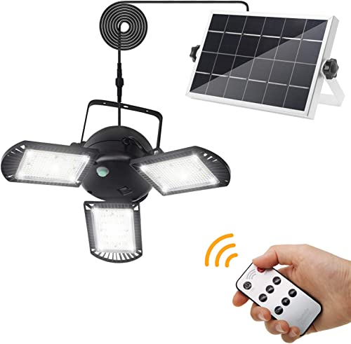 Solar Lights Outdoor, KUFUNG 3 Leaf Solar Pendant Light with Adjustable Multi-Position Panels, IP65 Wireless Flood Lights with Remote Control, for Garage, Deck, Fence, Patio, Shed, Tent NO Sensor