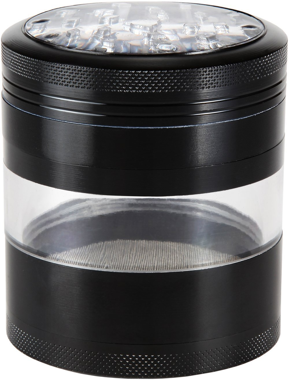 Zip Grinders Large Herb Grinder - Four Piece with Pollen Catcher - 3.25 Inches Tall - Premium Grade Aluminum (2.5'', Black)