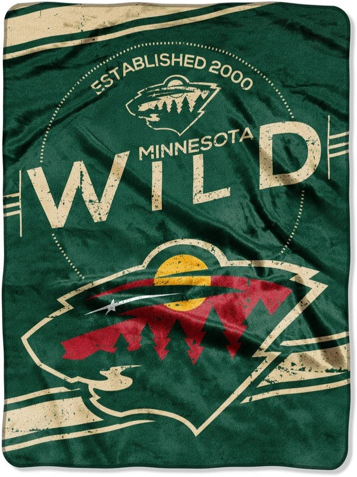 "Officially Licensed NHL ""Stamp"" Plush Raschel Throw Blanket, Multi Color, 60"" x 80"""
