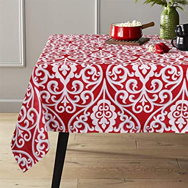 Lahome Damask Floral Pattern Tablecloth - Stain Resistant Polyester Table Cover for Kitchen Dining Room Restaurant Party Decoration (Red, Rectangle - 60  x 120 )