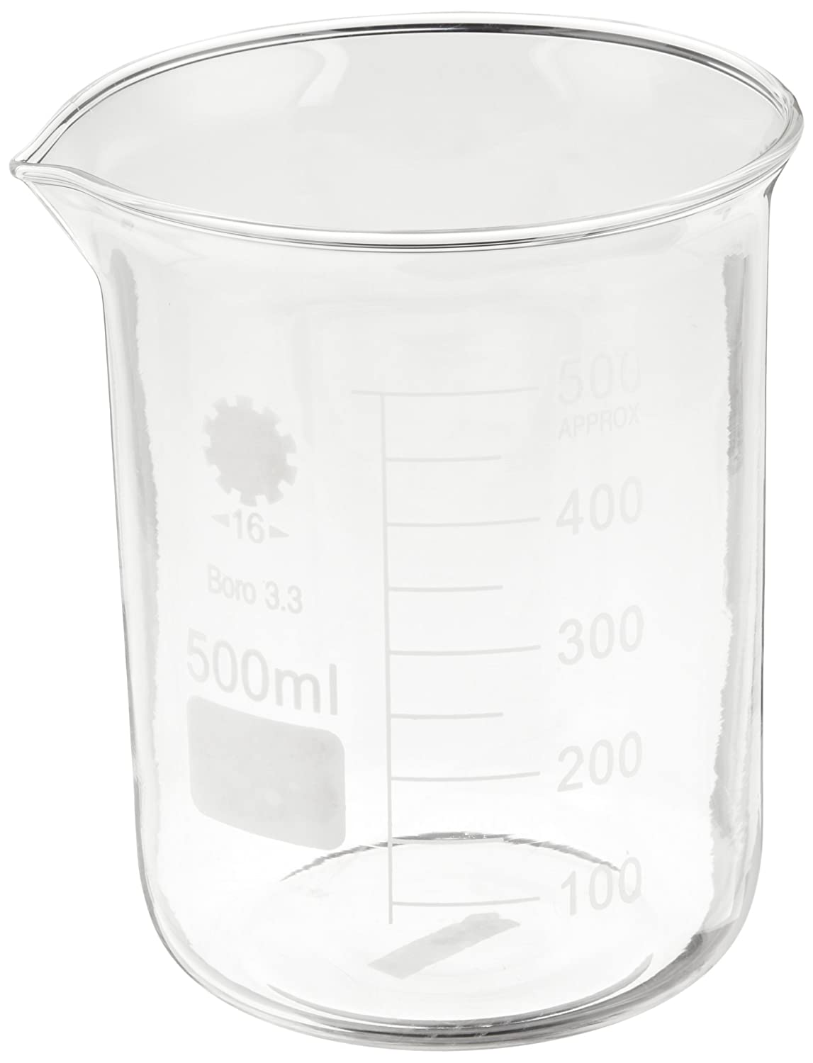 Ajax Scientific Borosilicate Glass Graduated Beaker, 500mL GL010-0500
