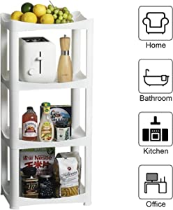 Fedicelly Bathroom Shelf Storage Shelving Unit,Laundry Plastic Storage Organizer Rack,Stackable Utility 4 Tier Kitchen Organizer Shelves,White